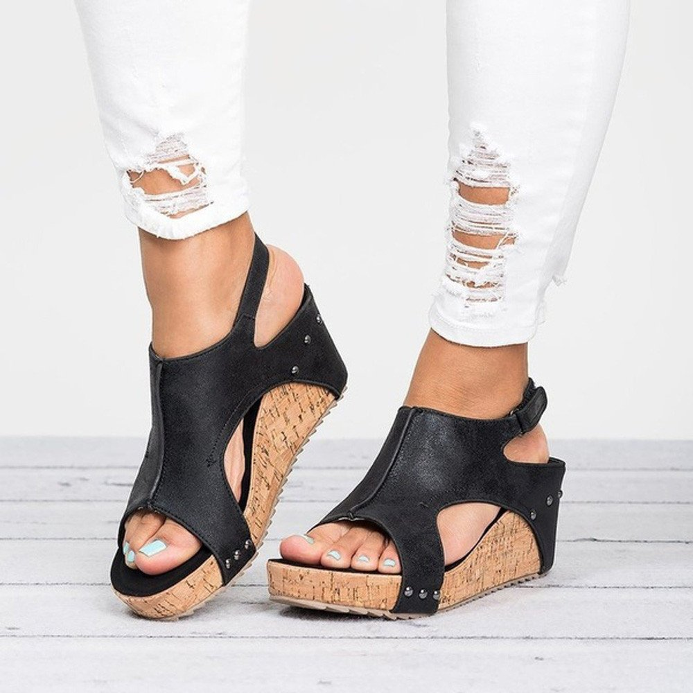 Wulofs Summer Round Toe Breathable Rivet Beach Sandals Boho Casual Wedges Shoes
