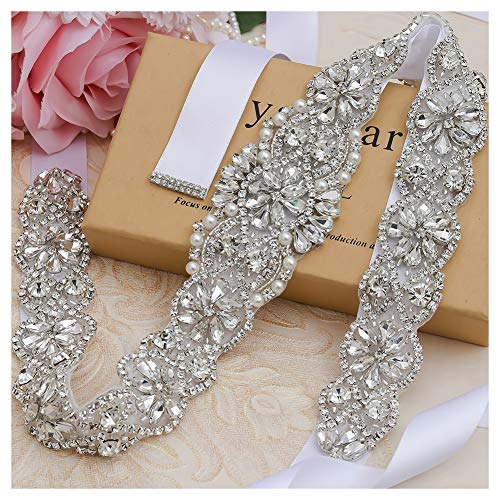 Yanstar Handmade Silver Crystal Bridal Belts Wedding Dress Sashes White Beads Belts For Bridal Wedding Gowns ()