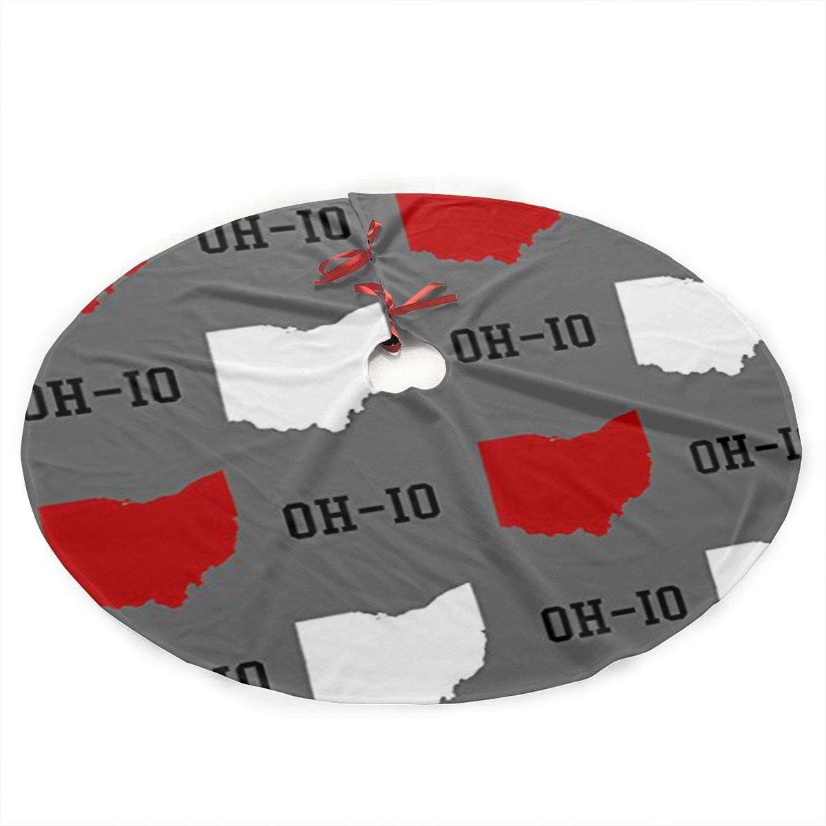 Oh-Io State Gray Christmas Tree Skirt with Santa, Xmas Tree Decorations Skirts Holiday Ornaments with Double Edges