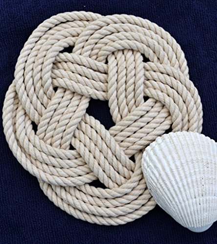 Nautical Sailor Knot Cotton Rope Trivet Natural White