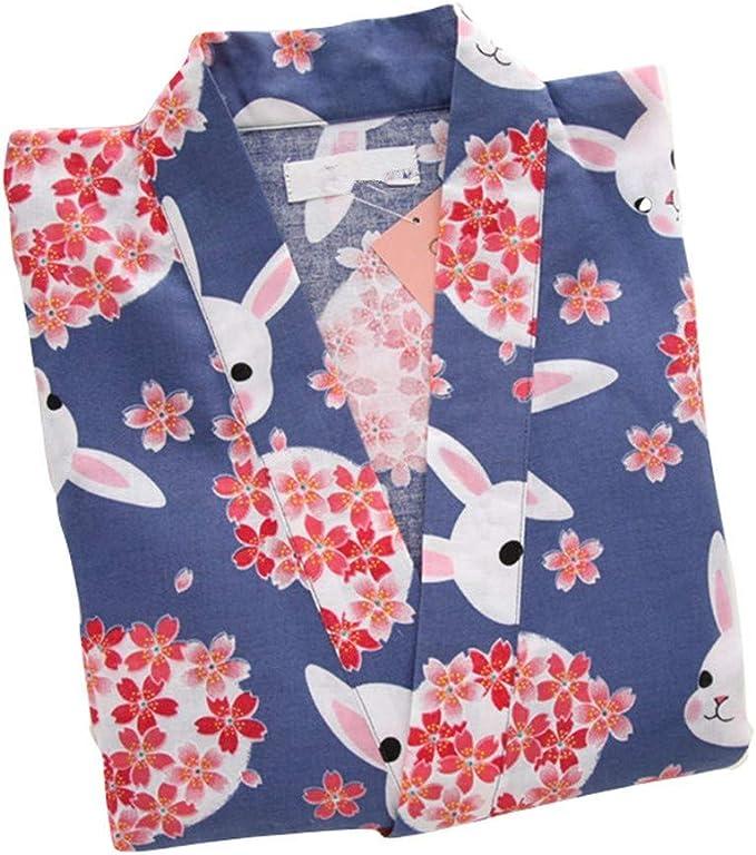 YTFOPLK Conjuntos De Pijamas Cortos para Mujeres De Kimono De Conejo De Sakura Pantalones Cortos De Yukata Japoneses De Algodón De Verano Ropa De Baño De Manga Corta para El Hogar, Azul-M: