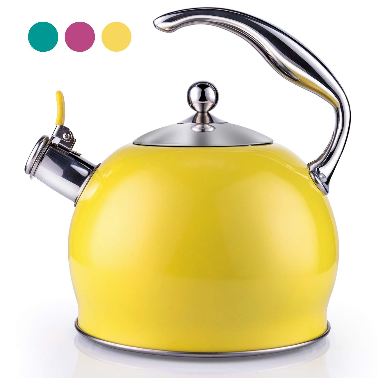 Tea Kettle Best 3 Quart induction Modern Stainless Steel Surgical Whistling Teapot -Tea Pot For Stove Top (3L, Yellow)