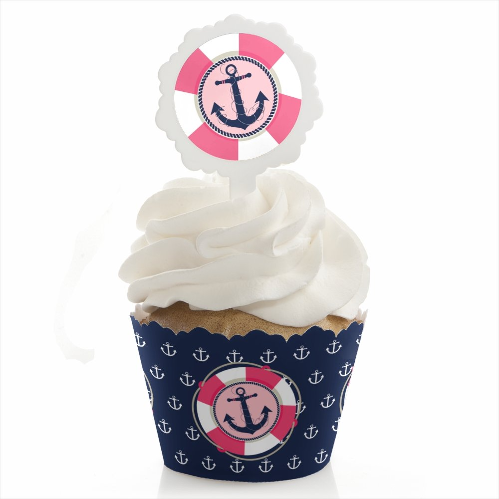 Ahoy - Nautical Girl - Baby Shower or Birthday Party Cupcake Wrapper and Pick - Cupcake Decorating Kit - Set of 24