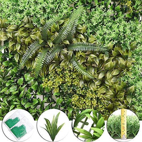 Yescom 20x20 Artificial Hedge Panels Decorative Greenery Wall Fence Mat Privacy Screen Topiary Hedge Panel 12 Pack
