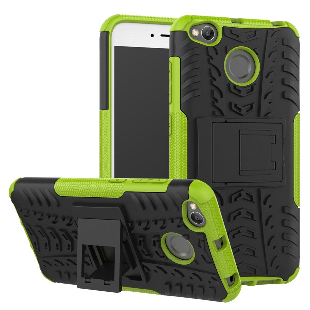 PC dura Armadura Cover Bumper Back Case con Kickstand para Xiaomi Redmi 4X Anti-rasgu/ños Protecci/ón completa del cuerpo Xiaomi Redmi 4X Funda FindaGift Doble capa 2 en 1 Soft TPU Verde Antichoque