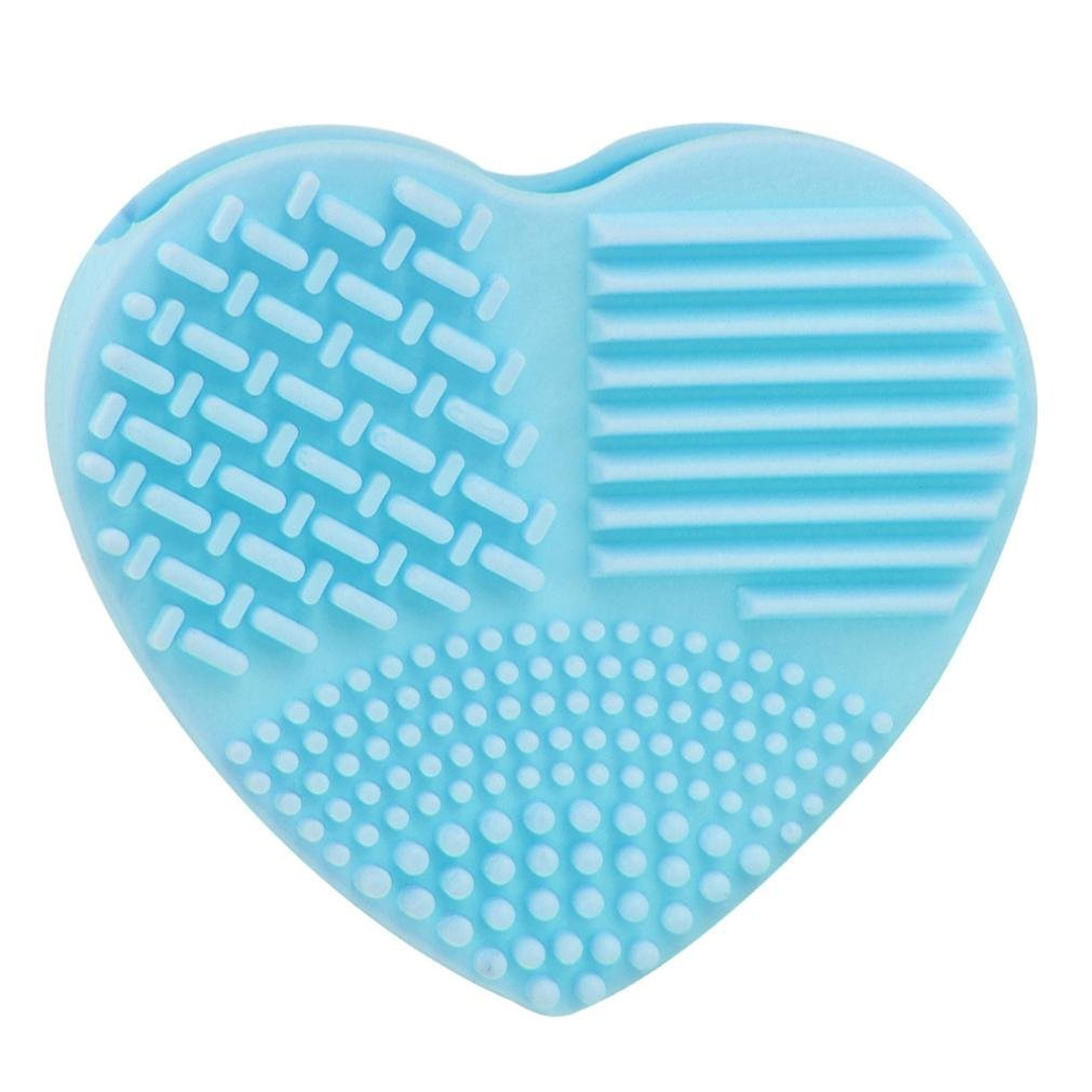 Silicone Fashion Egg Cleaning Glove Makeup Washing Brush Scrubber Tool Cleaners (Sky Blue)