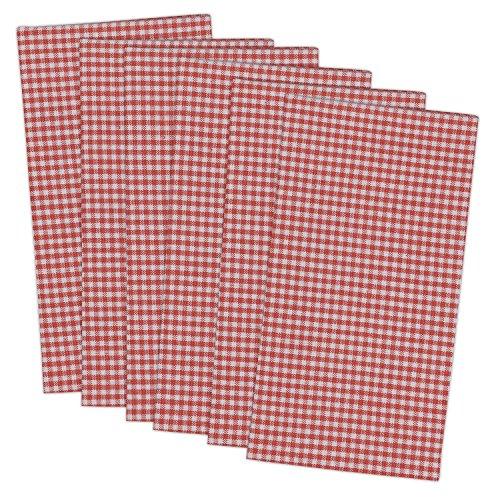 DII 100% Cotton, Oversized Basic Everyday 20x20 Napkin Set of 6, Coral Check