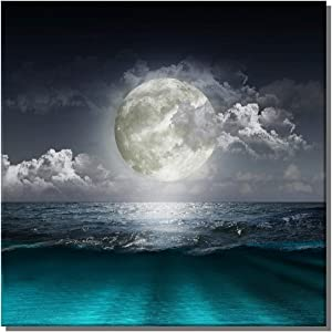 "TanjunArt Moon Ocean Seascape in Cloud Landscape Paintings Framed Fantasy Artwork Contemporary Canvas Wall Art Pictures of Space Decorations for Living Room Office Bedroom Decor(20"" x 20""x 1 Panel)"