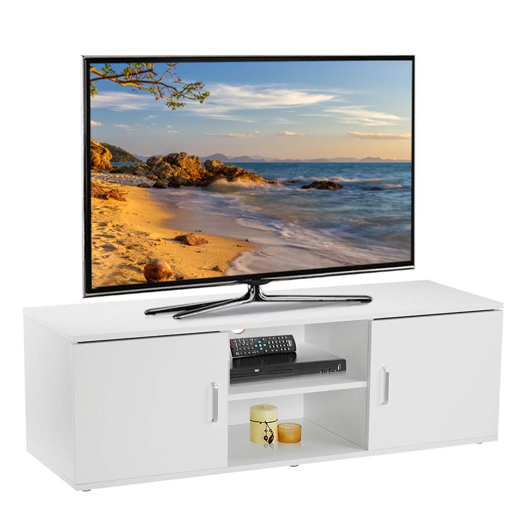 LANGRIA TV Stand with 2 Doors, 2-Tier Open Shelf and Ample Flat Surface, Contemporary Living Room Widescreen Storage System Unit for Living Room, Bedroom or Den (120x40x40cm), White 9ME2425N-YKUK-F1