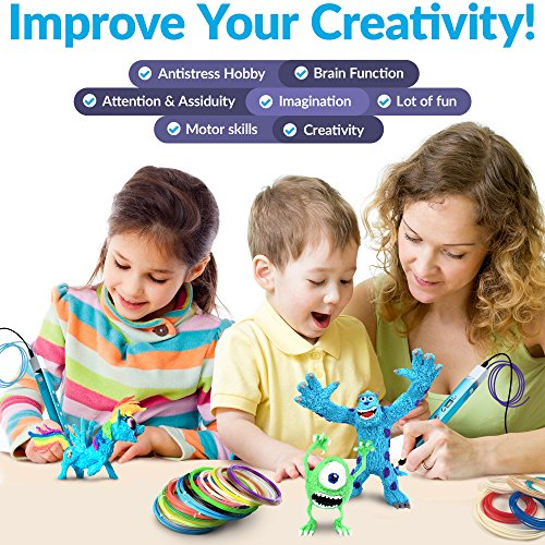 3D Pen for Kids - 3D Printing Pen set kit for girls boys teens adults - 3D Drawing Pencil – PLA ABS – original with display – cute gift box for art – best mini metal 3d pens starter pack case by Vellerton (Image #2)