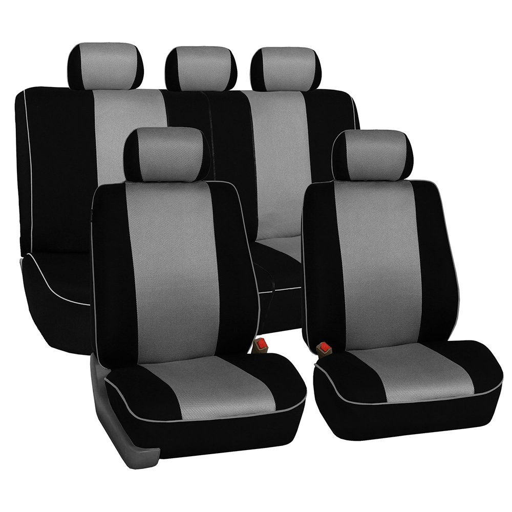 FH Group Universal Fit Full Set Cloth Car Seat Cover with Piping Airbag /& Split Ready, FH-FB063115, Fit Most Car, Truck, SUV, or Van Black