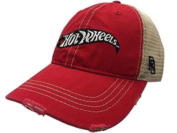 Mattel Hot Wheels Cars Retro Brand Red Vintage Mesh Adjustable Snapback Hat  Cap fe64543fb3ff