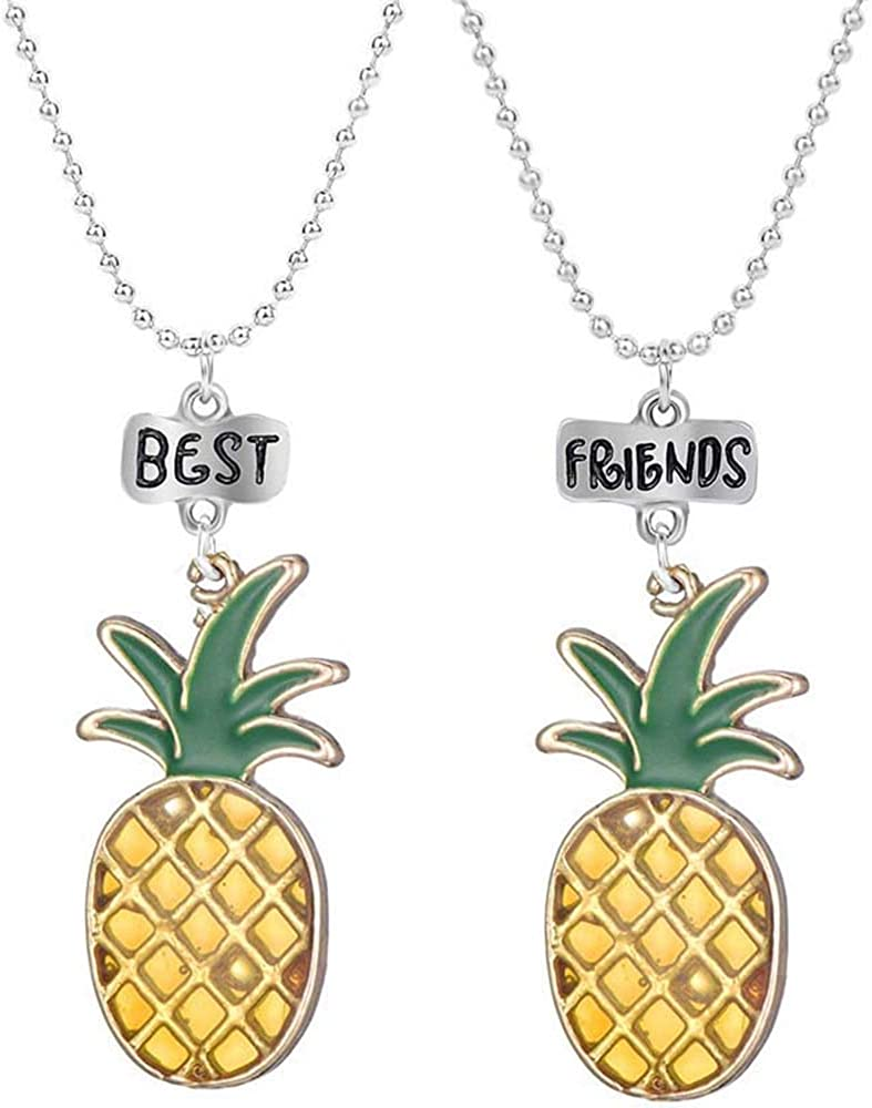 MJartoria BFF Necklaces for 2-Cute Best Friend Necklaces for Girls Boys, Cute Yellow Pineapple Pendant Friendship Necklaces Set