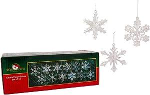 "Kurt Adler 2"" Glass Iridescent Snowflake Ornaments, 12-Piece Set"
