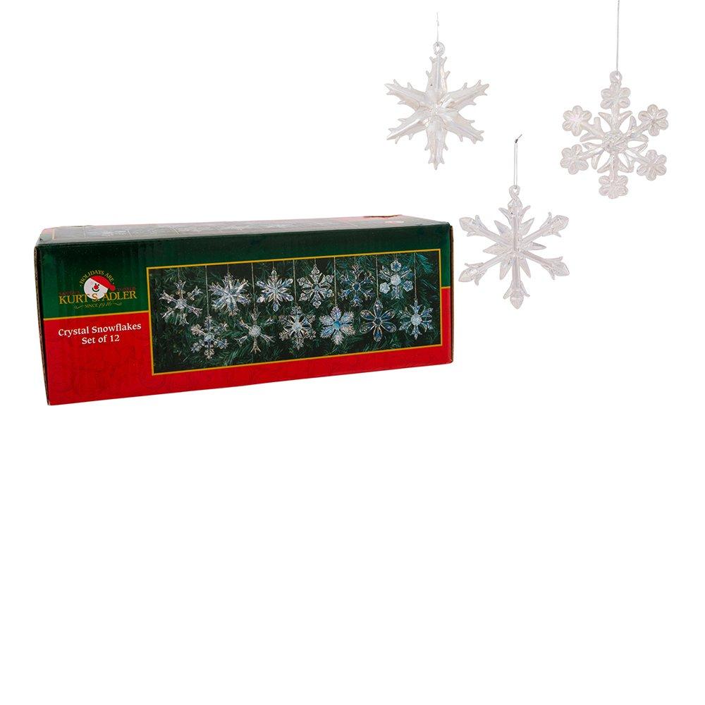 Kurt Adler 2'' Glass Iridescent Snowflake Ornaments, 12-Piece Set