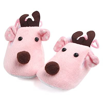 COMVIP Super Soft Sole Plush Baby Christmas Gift Deer Toddler Shoes Slipper
