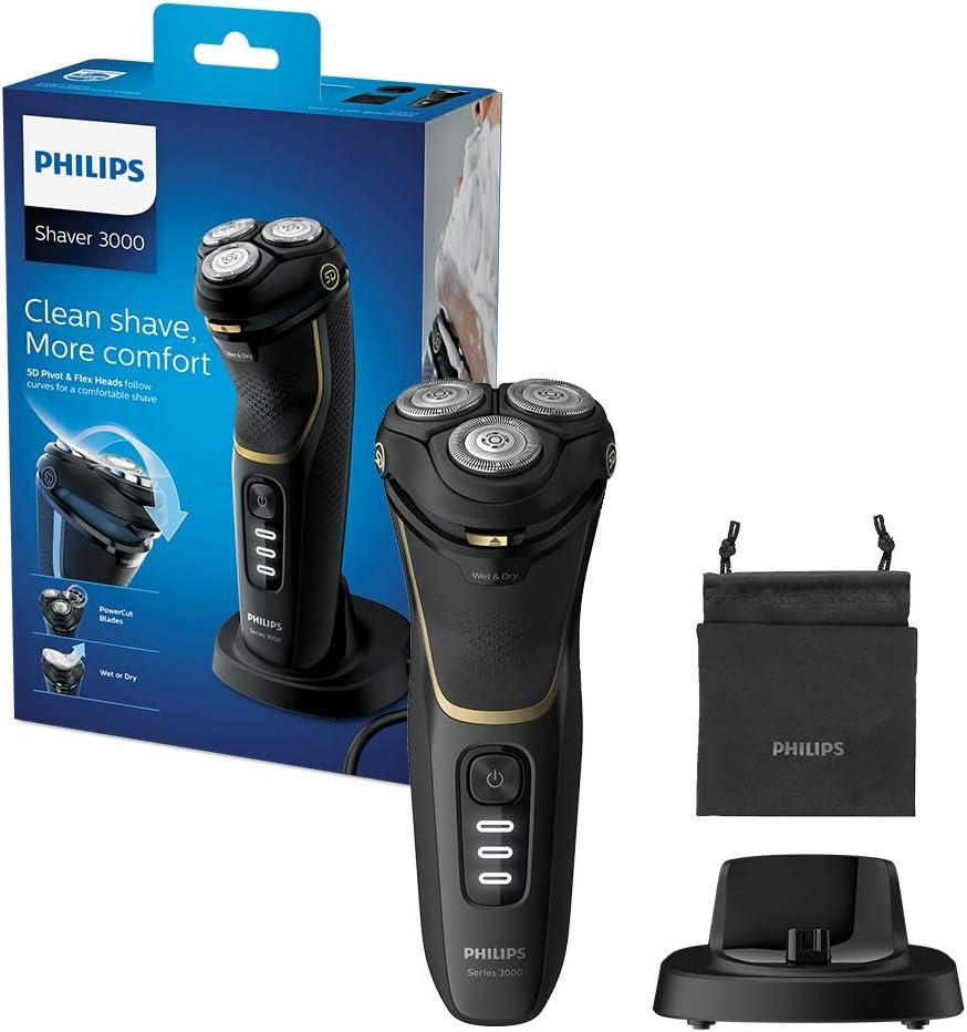 Philips Series 3000 afeitadora eléctrica húmeda o seca para hombre con un cabezal giratorio 5D y flexible, color dorado: Amazon.es: Salud y cuidado personal