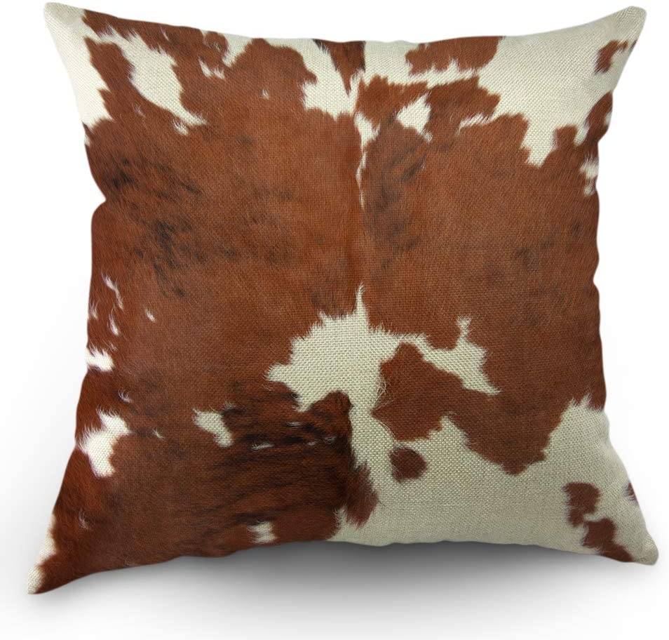 Moslion Cowhide Pillows Decorative Throw Pillow Cover Case Farm Animal Brown Cowhide Print Cow Pillow Case 18x18 Inch Cotton Linen Square Cushion Cover For Sofa Bedroom Home Kitchen