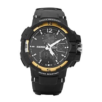 Electron Watch Reloj de Pulsera Digital con Pantalla Táctil Dual Sports de 50 m para Hombre con Banda de Goma(oro): Amazon.es: Deportes y aire libre