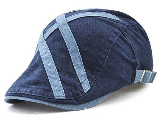 Roffatide Hombres Algodón Pegada de Tela Plano Gorras Gatsby Boinas Al Aire Libre Deportes Verano Sombrero del Sol Azul: Amazon.es: Ropa y accesorios