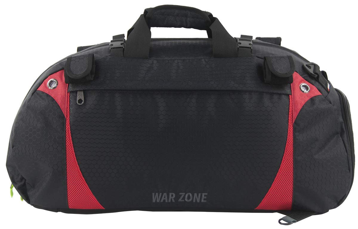 Amaro War Zone Lacrosse Equipment Bag, Lacrosse Gear Bag (Black with Red)