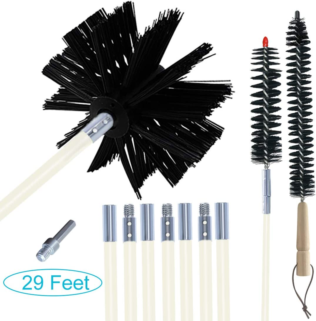 EAZY2HD 29 Feet Dryer Vent Cleaner Brush, Lint Remover,Chimney Brushes, Dryer Duct Cleaning Kit Extends Up to 29 Feet, Synthetic Brush Head Use with or Without a Power Drill