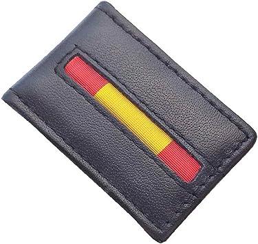 Tiendas LGP- Pinza Clip para Billetes Piel Negra Bandera de España Mod.2: Amazon.es: Equipaje