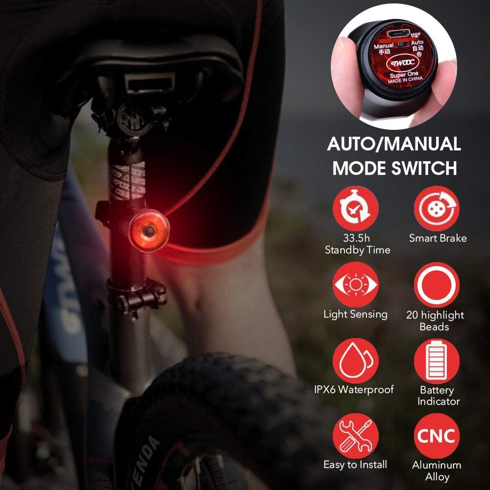 Luci Biciclette LED IPX6 Impermeabili e 6 Modalit/à per Strada e Montagna CHYBFU Luce Posteriore Bici Ricaricabile USB Luce Freno per Bicicletta Intelligente con Induzione Automatica del Freno On//Off