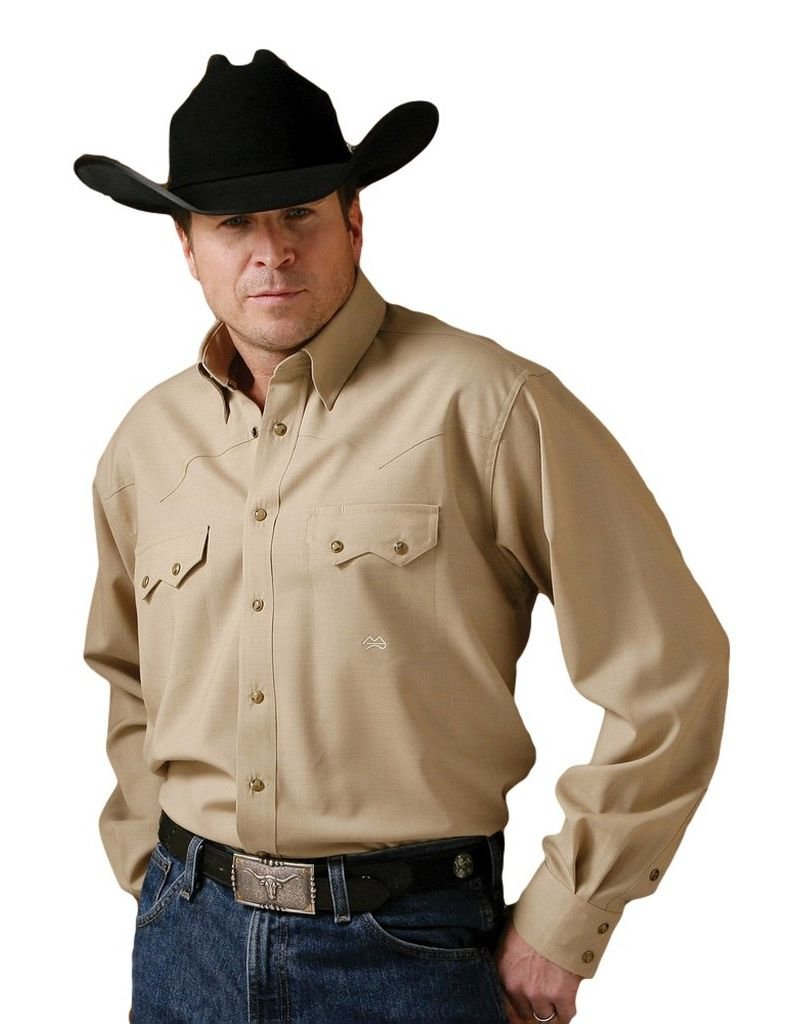 Miller Ranch Men's Fine Wool Western Shirt Khaki Large