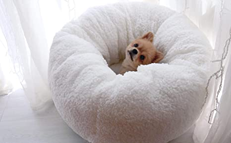 Lamzoom Cama para Mascotas de Forro Polar Supersuave o Redonda, para Gatos, Cachorros,