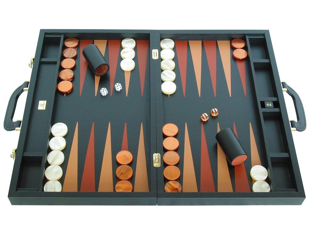 """Zaza & Sacci Backgammon Attache 23"""" - Genuine Leather - Double-Grip Handle"""