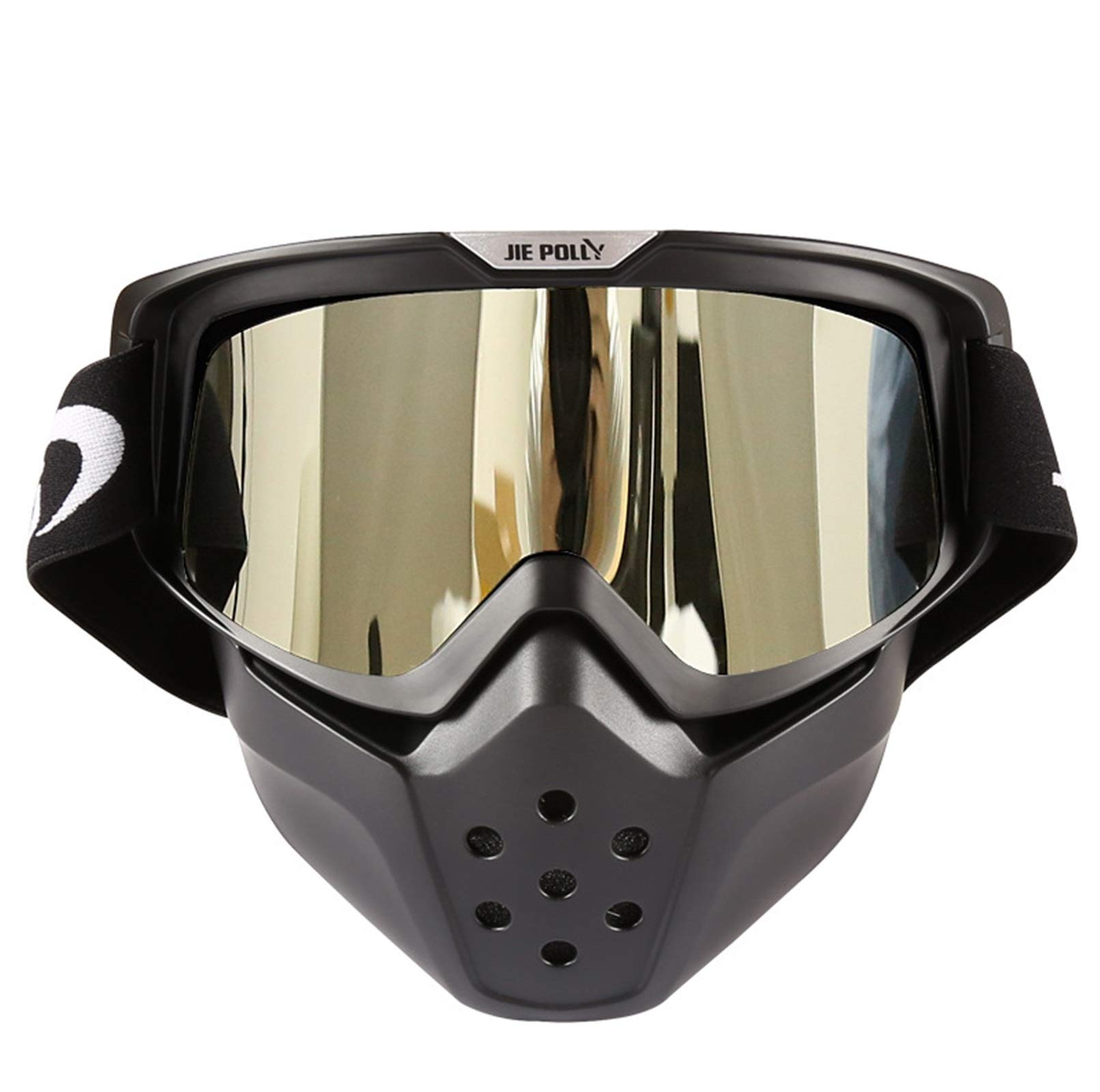 Adisaer Cycling Sport Sunglasses Shark mask Off-Road Motorcycle Locomotive Sand-Proof Goggles Silver for Adults