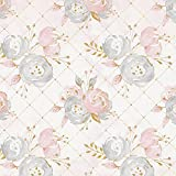 Carousel Designs Pink and Gold Floral Fabric by The Yard - Organic 100% Cotton