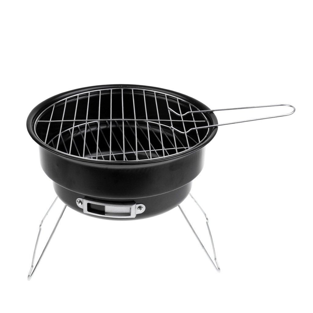 Baoblaze Mini Portable Round Camping Garden BBQ Barbecue Grill Stand Stove Cookware