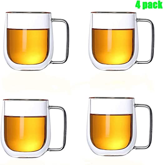 Microwave Safe set of 4 Large double wall glass coffee mug with handle,Big belly cup.Top quality espresso Latte Thermos Insulated Cup for Tea Cappuccino 14oz,400ml
