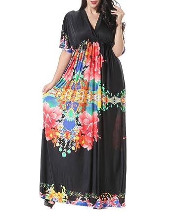 8b7c875218b Maxi Robe Longue de Soirée d été Imprimées Robe Femmes - Grande Taille Noir  XL