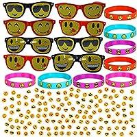 Emoji Party Pack - 8 Sunglasses + 8 Bracelets + 144 Tattoos - Full Emoji Themed Party Favor Set.