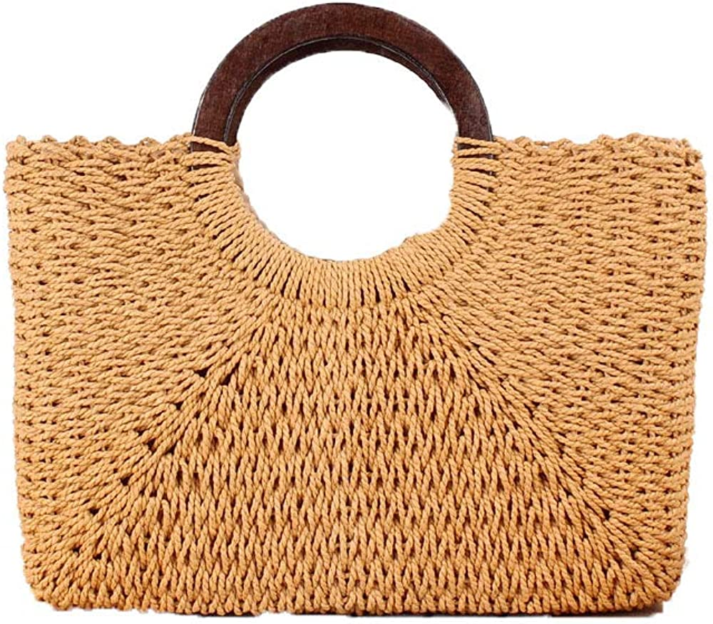 Soluo Top Handle Straw Handbag Casual Women Satchel Travel Tote Everyday Large Bag