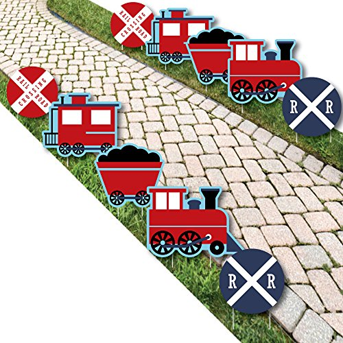 Railroad Party Crossing - Train Lawn Decorations - Outdoor Steam Train Birthday Party or Baby Shower Yard Decorations - 10 Piece -
