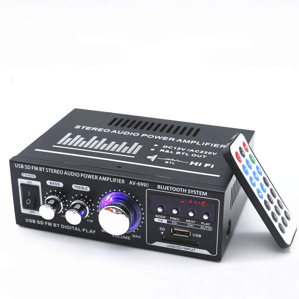 Docooler 12 V / 220 V Mini Pantalla LCD de 2 Canales HiFi Audio Esté reo Amplificador de Potencia BT Radio FM Portá til Coche Hogar 600 W Control Remoto Amplificador de Audio