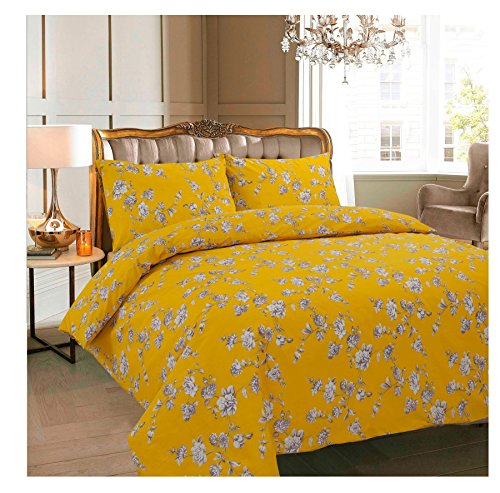 Rimi Hanger Floral Anna Claire Stella Duck Egg Printed Quilt Cover Pillow Case Bedding Set Claire Mustard Double (Stella Quilt)