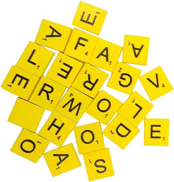 Sukisuki 100 piezas de madera Scrabble azulejos letras negras números para manualidades madera alfabeto, madera, amarillo claro, talla única: Amazon.es: Hogar