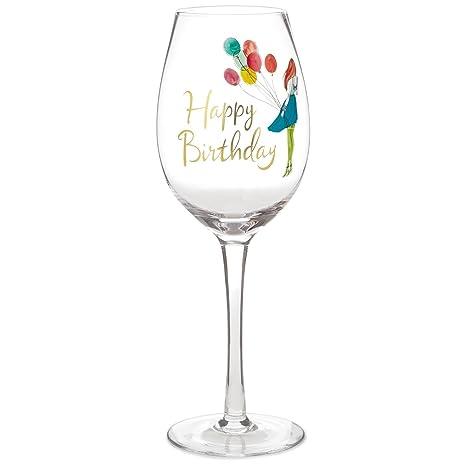 Amazon.com: Happy Vino (Cristal), diseño de cumpleaños, 15,8 ...