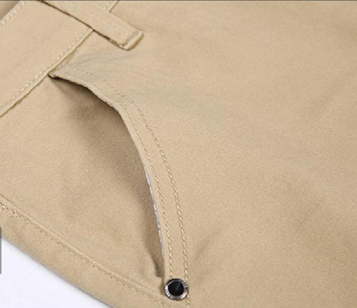HTOOHTOOH Mens Slim Solid Color Plain Casual Straight Fit Flat-Front Chino Pants