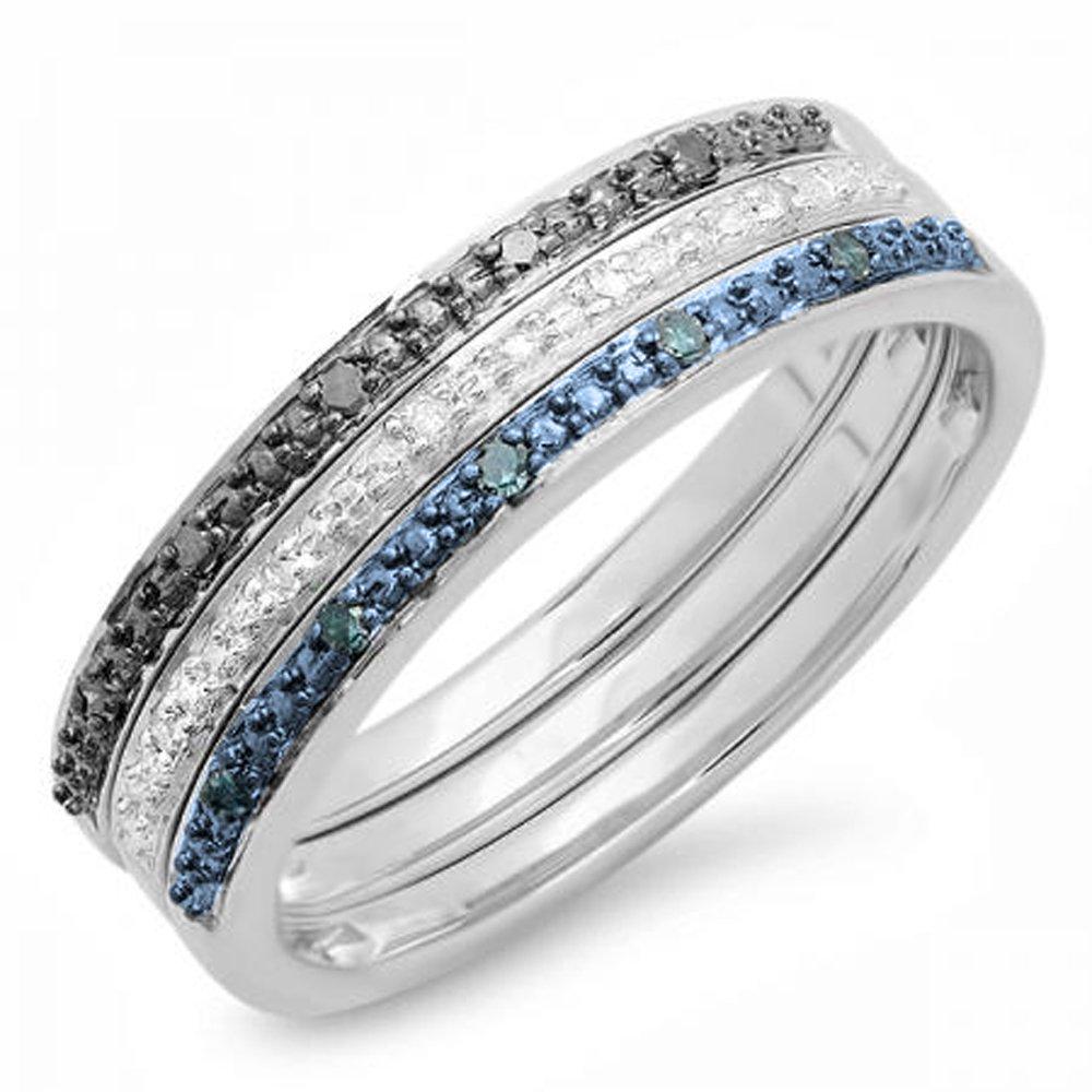0.10 Carat (ctw) Sterling Silver Round Blue & White Real Diamond Wedding Ring Set 1/10 CT (Size )