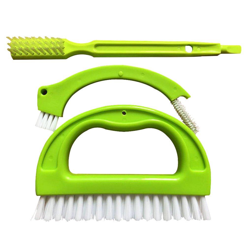 Lezed Cepillo Azulejo Limpiador de Juntas Herramienta de Limpieza (Verde, 3 Cepillos)