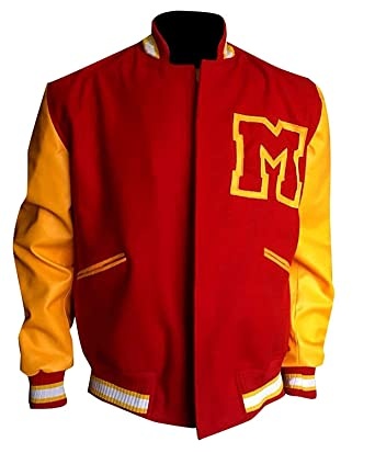 0bfb1b47d9e III-Fashions Michael M Logo Thriller Varsity Jackson Red & Yellow Letterman  Leather Sleeves Bomber Wool Jacket at Amazon Men's Clothing store: