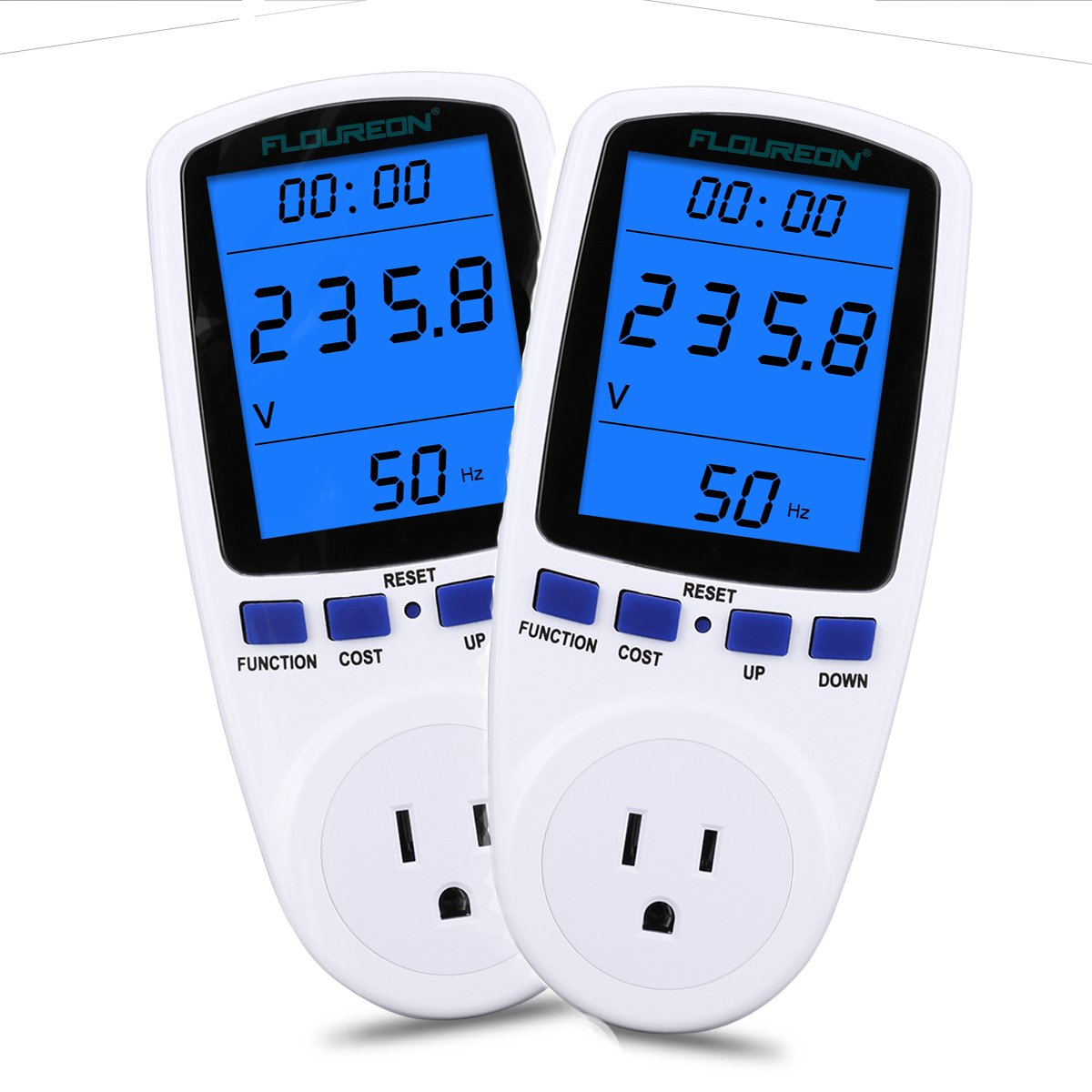 Electricity Usage Monitor, Floureon Power Meter Plug Energy Monitor with LCD Backlight Display Power Consumption Cost Meter Watt Voltage Amp Meter Calculator Analyzer [Energy Class A+++] - 2pack
