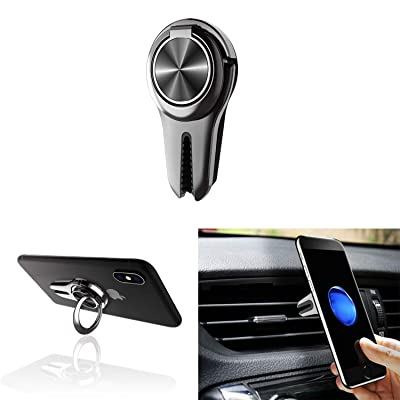 Alllink Mobile Phone Holder Smartphone Mount 3 in 1 Car Vent Phone Holder Phone Grip Phone Stand Phone Ring Compatible with All Smartphone Tablet(Black)