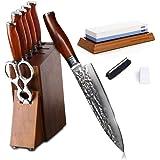 Damascus Kitchen Knife Set with Block Wooden and Sharpener Stone- Yarenh Professional Chef knife Set 8 Piece - Japanese…